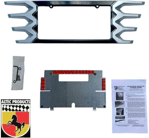 C7 Corvette Rear License Plate Frame Carbon Flash w/ Blade Silver Tips 14 - 19
