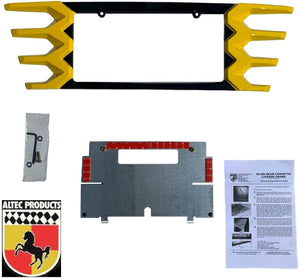 C7 Corvette Rear License Plate Frame Carbon Flash w/ Corvette Racing Yellow Tips