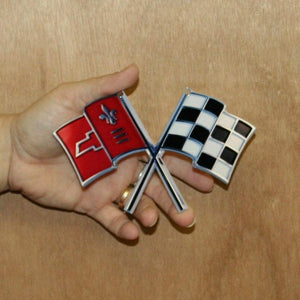 "C2 Corvette Nose Crossed Flag Metal Magnet Emblem Art Size: 6"" x 4"" Tool Box Cross Flag 65 through 66"