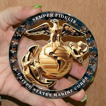 "Load image into Gallery viewer, USMC Enlisted Round Emblem Magnet 4""x4"" Marine Corps Semper FI"