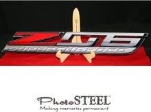 "Load image into Gallery viewer, C7 Corvette ZO6 Super Charged Wall Emblem Large Metal Z06 Art 35"" by 5"" in Size"