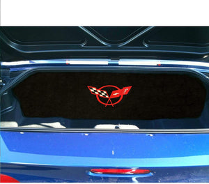C5 Corvette Trunk Compartment Divider Partition with Large C5 Red Cross Flag Embroidered Emblem Fits: 1998 Thru 2004 ZO6 FRC Convertible Corvettes