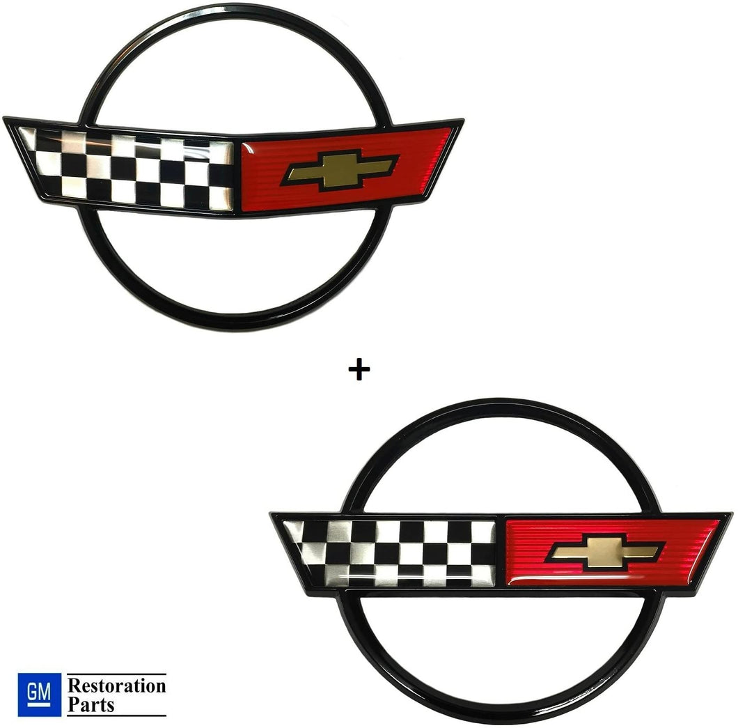 C4 Corvette Nose + Gas Fuel Lid Emblem Cross Flag GM Restoration Parts 84-90
