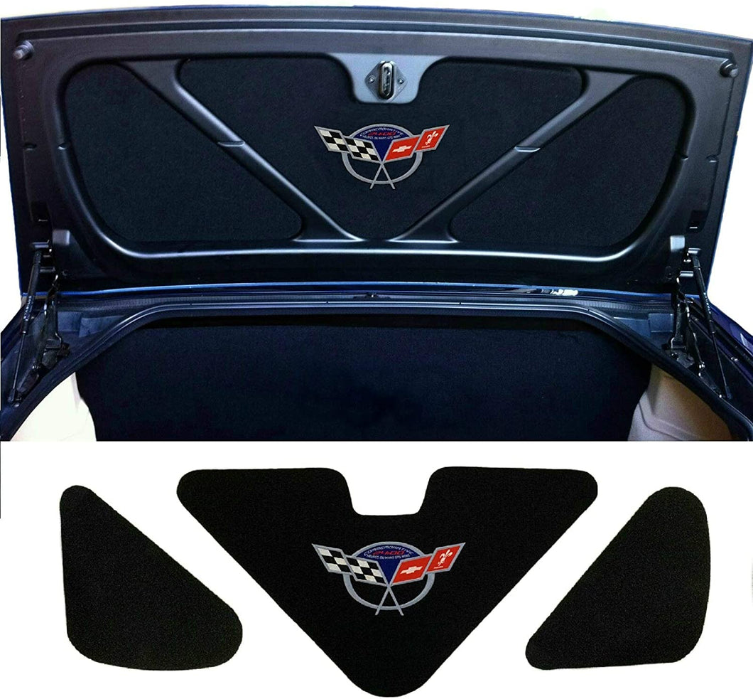 C5 Corvette Trunk Lid Liner with Commemorative Cross Flag Embroidered Emblem 3 Piece Kit Fits: 98 Through 04 FRC ZO6 and Convertible Corvettes
