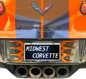 C7 Corvette Stingray Rear License Plate Frame Carbon Flash Finish with Sebring Orange Tips Made by Altec Fit: All 14 thru 19 Body Match for 18 Thru 19