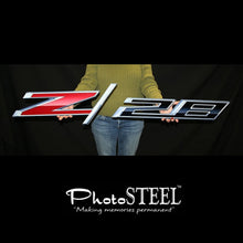 "Load image into Gallery viewer, Camaro Z28 Full Size Wall Emblem Art 50"" by 9.5"" 2014 and Later"