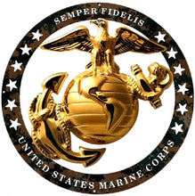 "Load image into Gallery viewer, USMC Enlisted Camouflage Large Wall Emblem Insignia 19"" MARINE CORPS SEMPER FI"