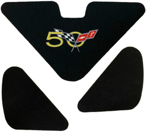 C5 Corvette 50th Trunk Lid Liner with 50th Cross Flag Embroidered Emblem 3 Piece