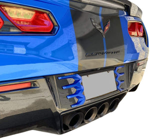 C7 Corvette Stingray Rear License Plate Frame Carbon Flash Finish with Laguna Blue Tips Made by Altec Fit: C7 Corvettes 14 Thru 19 color match 14-16