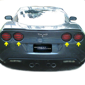 C6 Corvette Tail Light Louver Kit Phantom Euro Design Painted with GM Correct Match Cyber Gray Paint Fits: All 05 through 13 Corvettes