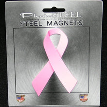 "Load image into Gallery viewer, Pink Ribbon Breast Cancer Awareness Metal with Magnets 4.5"" by 2.75"""