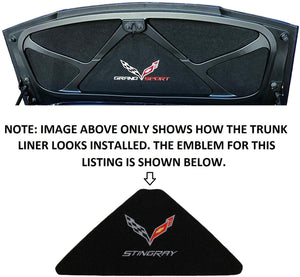 C7 Corvette Trunk Lid Liner with Cross Flag Emblem and Stingray Script Embroidered Emblems 5 Piece Kit Fits: 14 Through 19 Convertible Corvettes