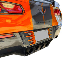 Load image into Gallery viewer, C7 Corvette Stingray Rear License Plate Frame Carbon Flash Finish with Sebring Orange Tips Made by Altec Fit: All 14 thru 19 Body Match for 18 Thru 19