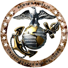 "Load image into Gallery viewer, USMC Officer Round Large Wall Emblem Desert Camouflage 19""x19"" Marine Corps Semper FI"