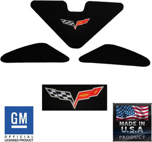 C6 Corvette Trunk Lid Liner w/ Cross Flag Embroidered Emblem 3Pc Kit 05-13