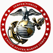 "Load image into Gallery viewer, USMC Officer Round Large Wall Emblem RED Circle 19""x19"" Marine Corps Semper FI"