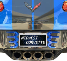 Load image into Gallery viewer, C7 Corvette Stingray Rear License Plate Frame Carbon Flash Finish with Laguna Blue Tips Made by Altec Fit: C7 Corvettes 14 Thru 19 color match 14-16