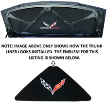 Load image into Gallery viewer, C7 Corvette Trunk Lid Liner w/ Silver Cross Flag Embroidered Emblem 14 thru 19