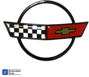 C4 Corvette Front Nose Hood Emblem Cross Flag Official GM Restoration Part Fits: 84 through 90 Corvettes