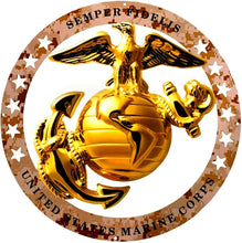 "Load image into Gallery viewer, USMC Enlisted Round Large Wall Emblem Desert Camo 19"" Marine Corps Semper FI"