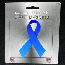 "Load image into Gallery viewer, Blue Ribbon Colon Cancer Awareness Metal with Magnets 4.5"" by 2.75"""