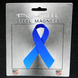 "Blue Ribbon Colon Cancer Awareness Metal with Magnets 4.5"" by 2.75"""