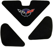 Load image into Gallery viewer, C5 Corvette Trunk Lid Liner with Commemorative Cross Flag Embroidered Emblem 3 Piece Kit Fits: 98 Through 04 FRC ZO6 and Convertible Corvettes