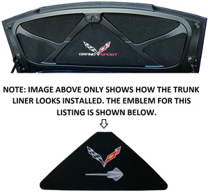 C7 Corvette Trunk Lid Liner w/ Crossed Flag + Stingray Embroidered Emblems 14-19
