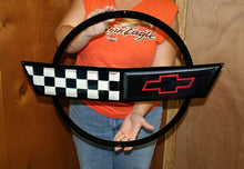 "Load image into Gallery viewer, C4 Corvette Crossed flag Wall Emblem Large Metal Art 91-96 Full 27"" x 19"" Size"