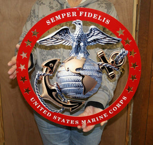 "USMC Officer Round Large Wall Emblem RED Circle 19""x19"" Marine Corps Semper FI"