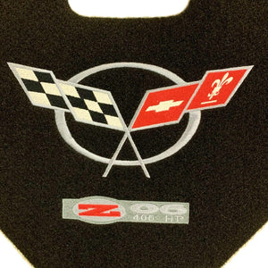 C5 Corvette Trunk Lid Liner Cross Flag + ZO6 Embroidered Emblem 3Pc Kit 98-04