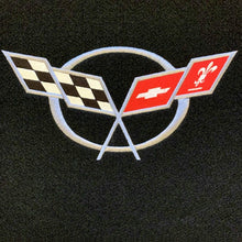 Load image into Gallery viewer, C5 Corvette Trunk Compartment Divider Partition with Large C5 Silver Cross Flag Embroidered Emblem Fits: 1998 Thru 2004 ZO6 FRC Convertible Corvettes