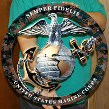 "Load image into Gallery viewer, USMC Officer Round Large Wall Emblem Camouflage 19""x19"" Marine Corps Semper FI"