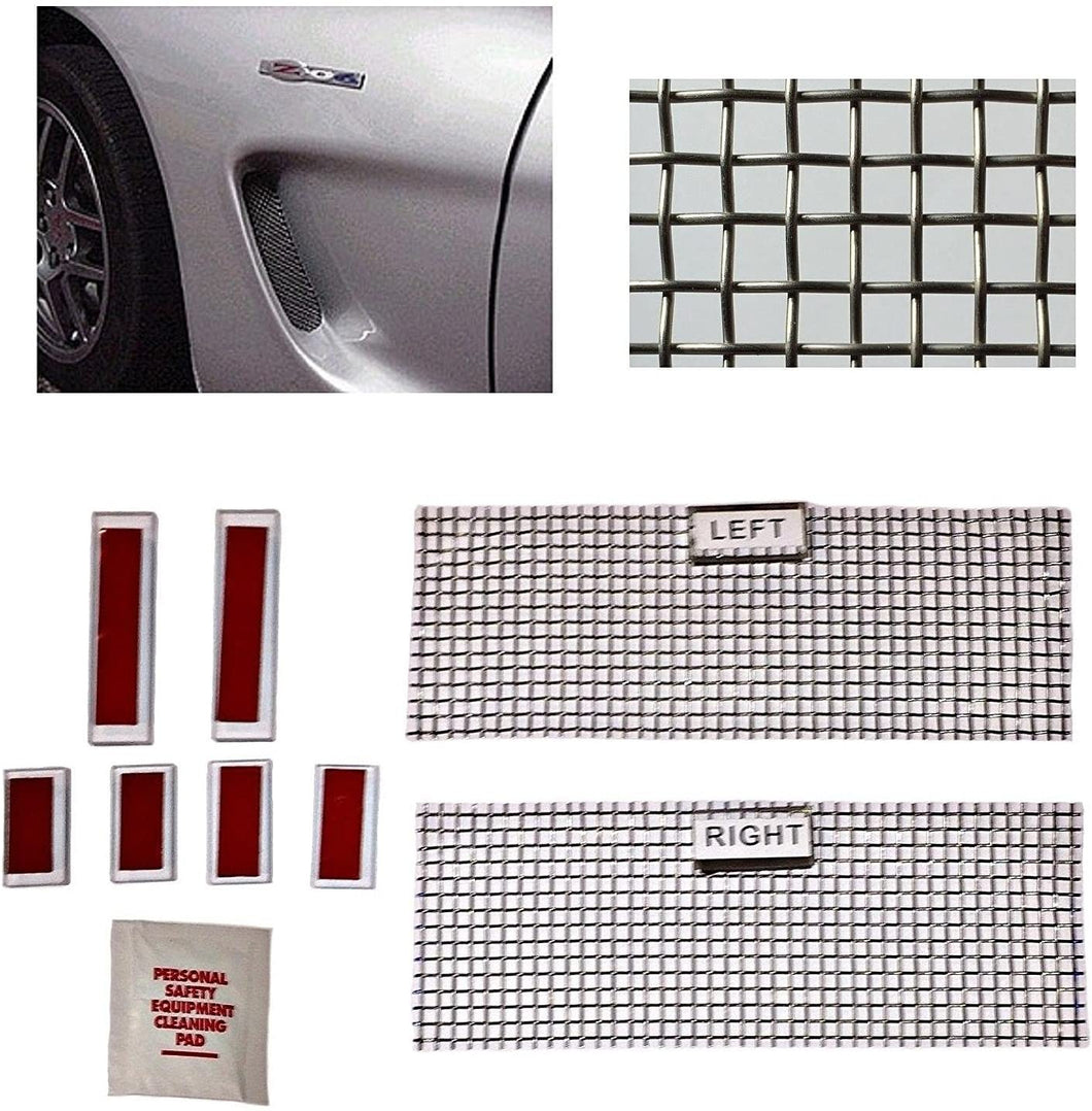 C5 Corvette Cove Side Screen Insert Kit Stainless Steel Woven Mesh Design Fits: All 97 through 04 Corvettes