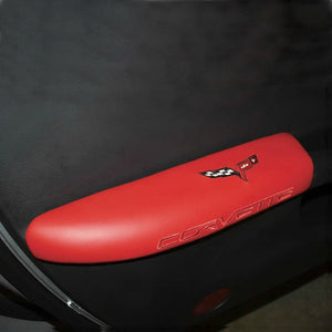 C6 Corvette Red Door Armrest Pad with Embroidered Cross Flag + Script 05-13