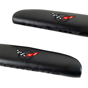 C5 Corvette Black Door Armrest Pad with Embroidered Black Cross Flag Fits: All 97 Through 04 Corvettes
