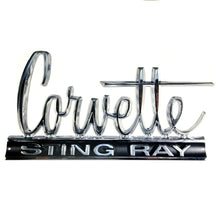"Load image into Gallery viewer, C2 Corvette Wall Emblem Large Metal Art 66-67 Full 24"" x 13.5"" In Size"