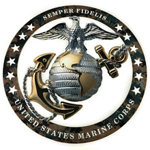 "Load image into Gallery viewer, USMC Officer Round Emblem Magnet 4""x4"" Marine Corps Semper FI"
