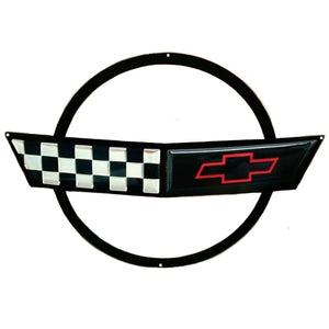 "C4 Corvette Crossed flag Wall Emblem Large Metal Art 91-96 Full 27"" x 19"" Size"