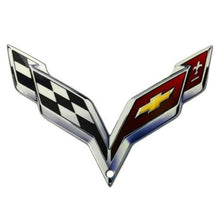 "Load image into Gallery viewer, C7 Corvette Crossed Flag Metal Magnet Emblem Art Size: 6"" x 4"" Tool Box Cross Flag 14 through 19"