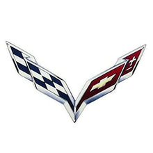 "Load image into Gallery viewer, C7 Corvette Crossed Flag Wall Emblem Large Metal Art 14 thru 19 Full 24"" by15"""