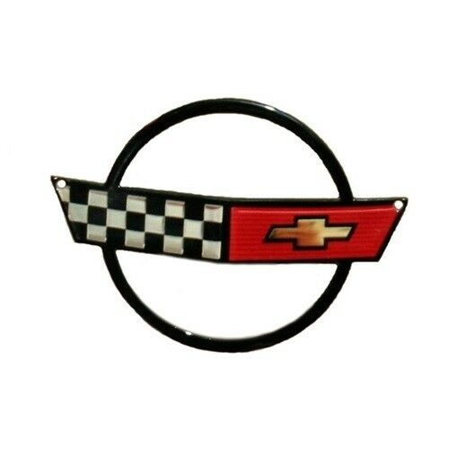 C4 Corvette Crossed Flag Metal Magnet Emblem Art Size: 5