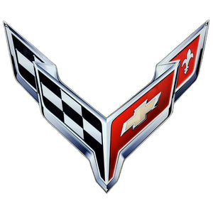 "C8 Corvette Crossed Flag Wall Emblem Large Metal Art Full 20"" by 19"" 2020 +Later"