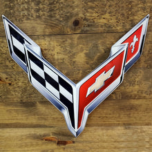 "Load image into Gallery viewer, C8 Corvette Crossed Flag Wall Emblem Large Metal Art Full 20"" by 19"" 2020 +Later"