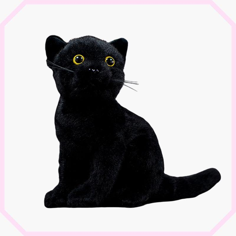 peluche chat noir assis