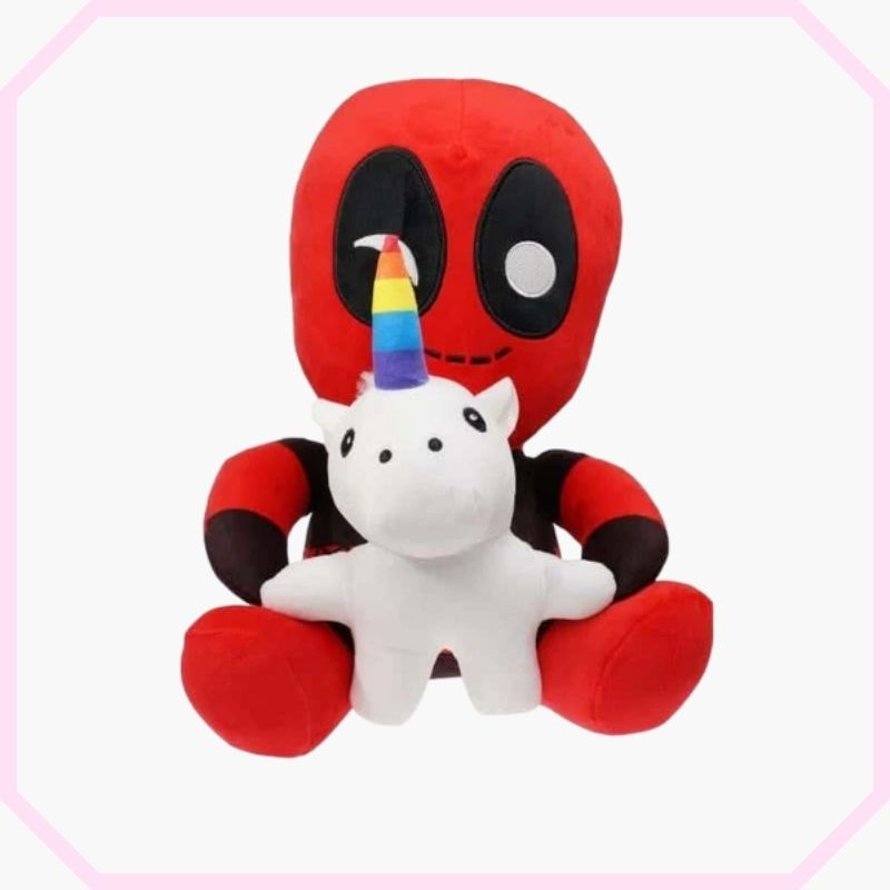 peluche licorne deadpool marvel assis