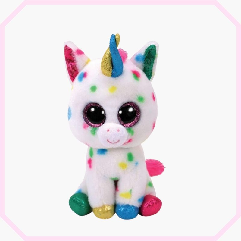 peluche licorne gros yeux assis