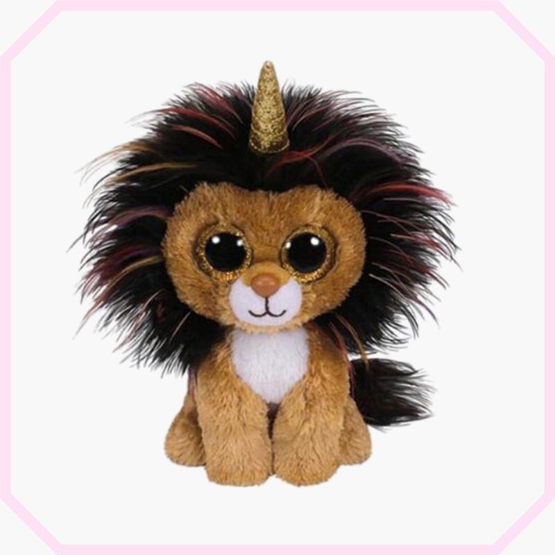 peluche lion gros yeux assis