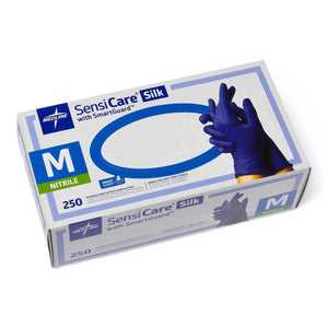 Medline SensiCare Silk Powder-Free Nitrile Exam Gloves - CASE (2,500 Pieces)