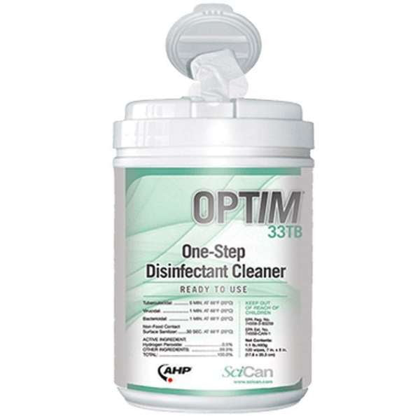 SciCan Optim 33TB Surface Disinfectant Wipes 160/tub - CASE (12 Canisters)